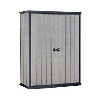 Keter High Store Grey Wood-look Resin Outdoor Garden Storage Shed
