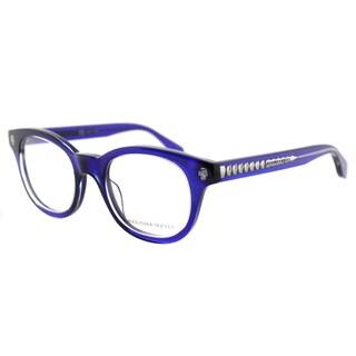 Alexander McQueen AM 0027O 004 Blue Crystal Plastic Square Eyeglasses