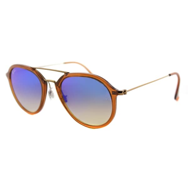 Ray-Ban RB 4253 62388B Square Shiny Brown Plastic Frame with Blue Flash Gradient Lenses Sunglasses