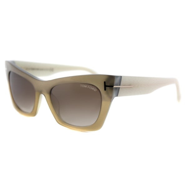 Tom Ford TF 459 38F Kasia Matte Honey Plastic Cat-Eye Brown Gradient Lens Sunglasses