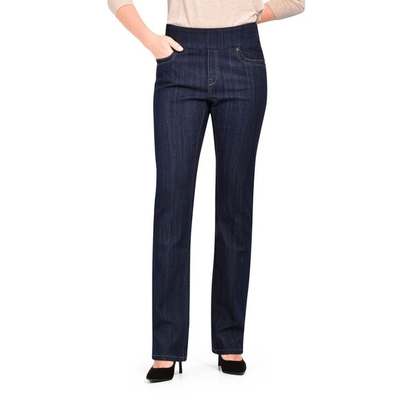 Bluberry Women's Dark Blue Rinse Straight Cut Denim Jeans