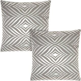 Mina Victory Luminescence Diamond Zebra Silver/Grey 18-inch Throw Pillow (Set of 2) by Nourison