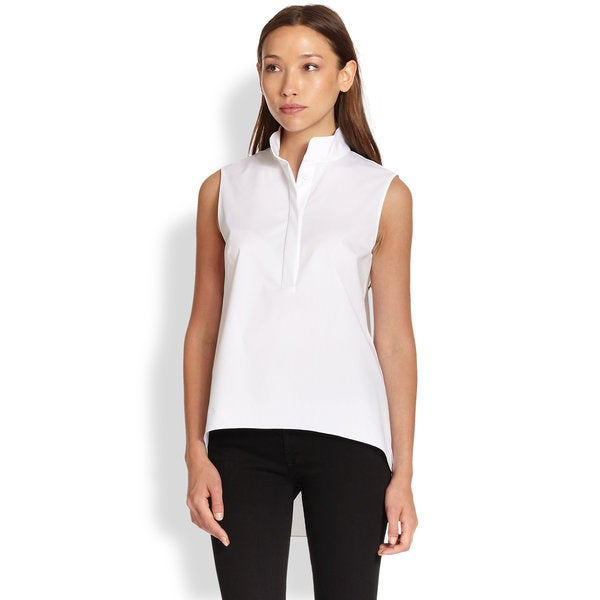 Elie Tahari Tiffany White VIscose Sleeveless Blouse