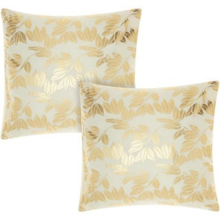 Mina Victory Luminescence Olive Leaves Ivory/Gold 18-inch Throw Pillow (Set of 2) by Nourison