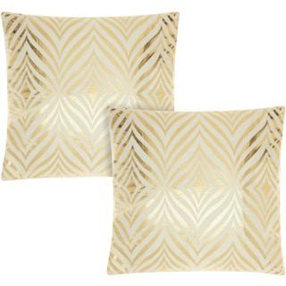 Mina Victory Luminescence Diamond Zebra Ivory/Gold 18-inch Throw Pillow (Set of 2) by Nourison