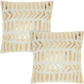 Mina Victory Luminescence Raised Tribal Print Ivory/Gold 18-inch Throw Pillow (Set of 2) by Nourison