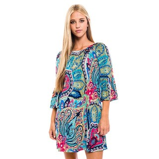 Women's Multicolor Polyester/Spandex Short Abstract Dress