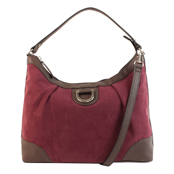 Mondani Emilie M. Sydney Purple/Brown Suede Hobo Bag