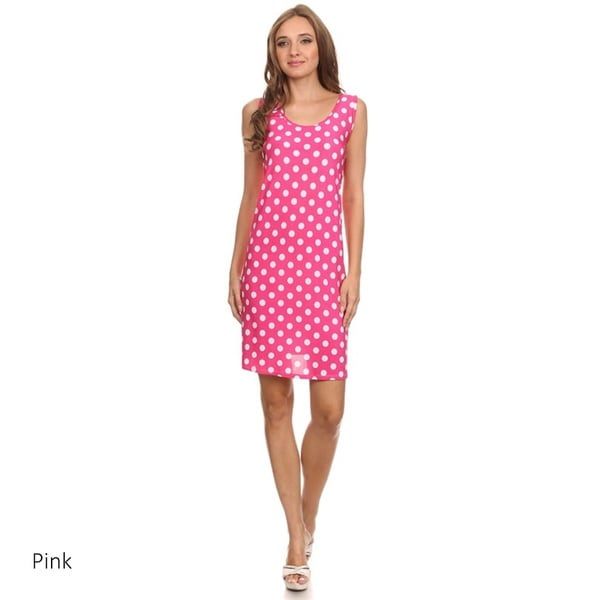 Polka Dot Polyester/Spandex A-line Sleeveless Dress