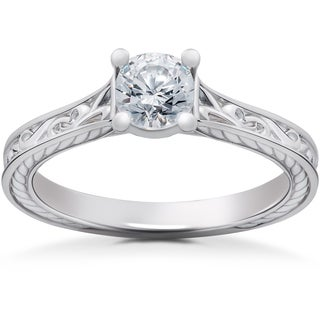 14k White Gold 1/2ct Eco Friendly Lab Grown Vintage Scroll Solitaire Sophia Engagement Ring (F-G, SI1-SI2)