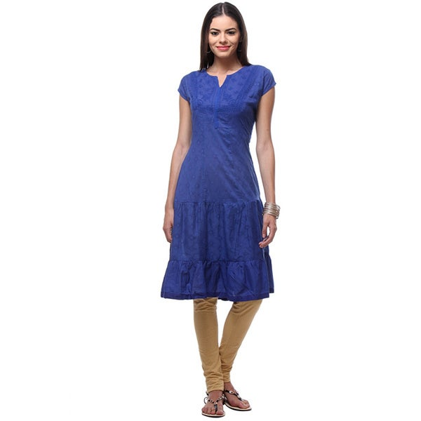 In-Sattva Women's Indian Embroidered Patterned Short Sleeved Kurta Dress Size Large in Blue(As Is Item)