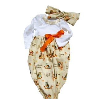 Baby Girl Thanksgiving Owls Layette Gown Set