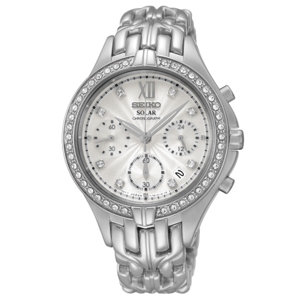 Seiko Women's Silver Stainless Steel Mother of Pearl Solar Chronograph Dial Watch
