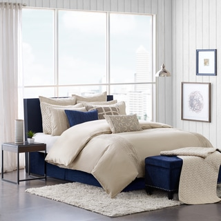 Hampton Hill Whittier Beige Cotton Comforter Set with Bedskirt