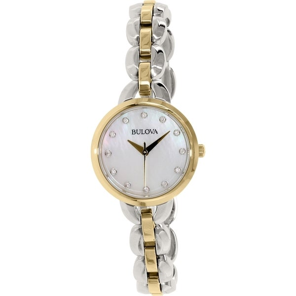 Bulova Women's 98L208 Two Tone Stainless Steel Crystal Adorned Watch with a Mother of Pearl Dial 19968949