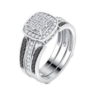 Divina 14K White Gold 1.0ct TDW White and Black diamond Quad Engagement Ring with wrap .(H-I, I1-I2).