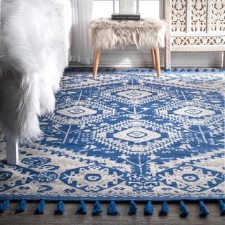 nuLOOM Flatweave Tribal Diamond Dragon Cotton Tassel Blue Rug (2' x 3')