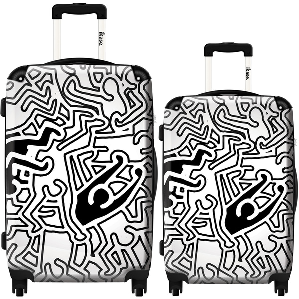 iKase 'Keith Haring Doubles Black and White' 2-piece Fashion Harside Spinner Luggage Set