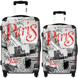 iKase 'Paris View by Air' 2-piece Fashion Harside Spinner Luggage Set
