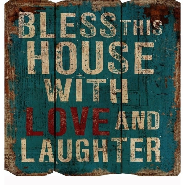 Rustic Decor 'Bless This House' Multicolored Wood Sign