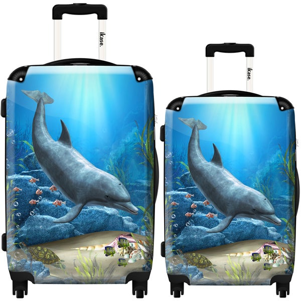 iKase 'The World of The Dolphins' 2-piece Fashion Harside Spinner Luggage Set