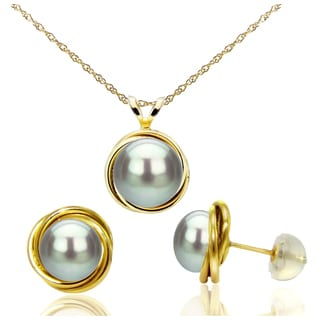 DaVonna 14k Yellow Gold Grey Pearl Love Know Pendant Necklace and Stud Earrings Set