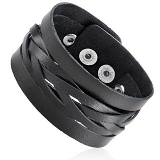 Men's Black Leather Cut Out Woven Center Cuff Bracelet - 7.5 inches (26mm Wide)
