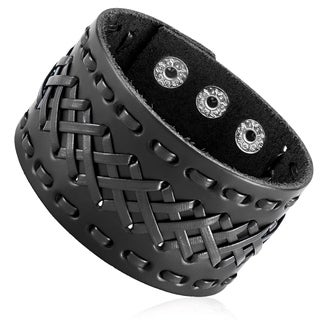 Men's Leather Cross Stitched Cuff Bracelet - 8.5 inches (42mm Wide)