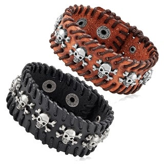 Men's Leather Skull Studs Stitched Cuff Bracelet - 7.5 inches (29mm Wide)