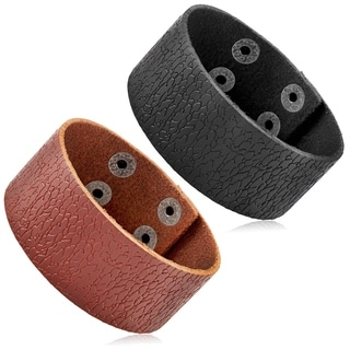 Men's Leather Textured Cuff Bracelet - 8 inches (30mm Wide)