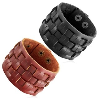 Men's Leather Basket Weave Cuff Bracelet - 8.5 inches (48mm Wide)