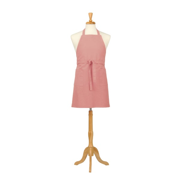 Solid Coral Canvas Bib Apron