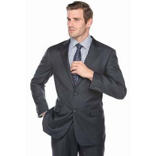 Verno Men's Navy Blue 100-percent Wool Notched Lapel Classic Fit Suit
