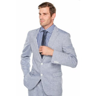 Verno Men's Light Blue 100-percent Linen Classic-fit Suit