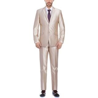 Verno Men's Tan 2-piece Shark-skin Classic-fit Italian-styled Suit