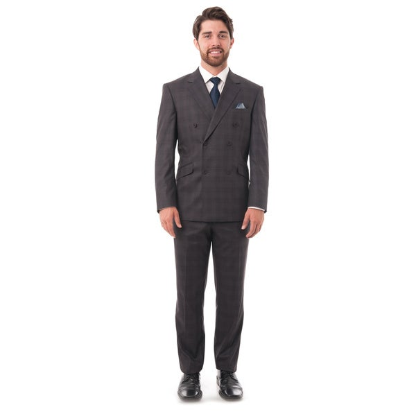 Verno Men's Grey Graph Check Double-breasted Slim Fit Two-piece Suit