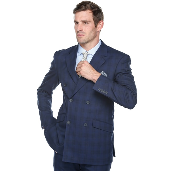 Verno Men's Navy/Graph Check Double-breasted Slim-fit 2-piece Suit