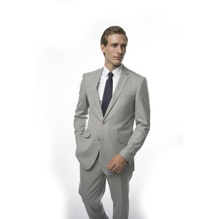 Verno Men's Light-grey Polyester/Viscose Slim-fit Two-piece Suit