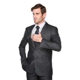 Verno Men's Dark Grey and White Textured Notch Lapel Slim-fit Two-piece Suit