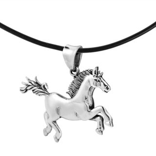 Running Noble Horse Sterling Silver Black Rubber Necklace (Thailand)