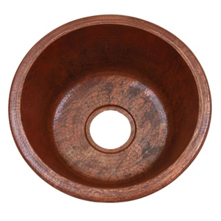 Unikwities 16-inch Diameter Round Sierra Fired Copper Finish 5 lb. 7 oz. Copper Sink