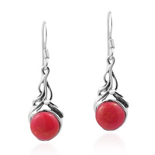 Precious Orb Natural Stone Sterling Silver Dangle Earrings (Thailand)