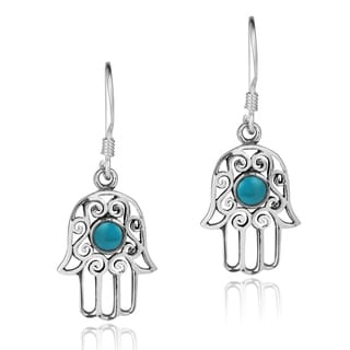 Swirl Hamsa Hand Natural Stone Center .925 Silver Earrings (Thailand)