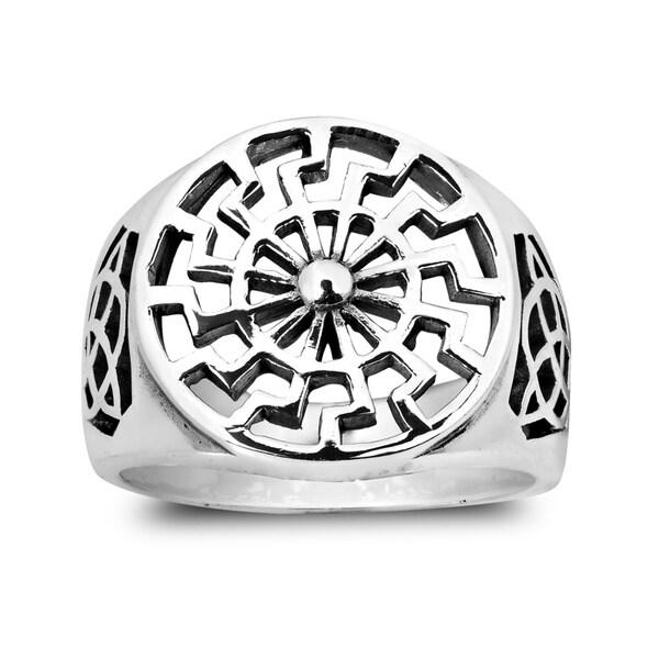 Black Sun Wheel Celtic Knot Sterling Silver Ring (Thailand)