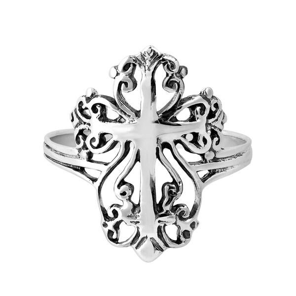 Victorian Swirl Cross Hidden Heart Sterling Silver Ring (Thailand)
