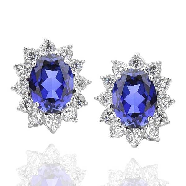 Sterling Silver Created Blue Sapphire and Cubic Zirconia Flower Stud Earrings (China)