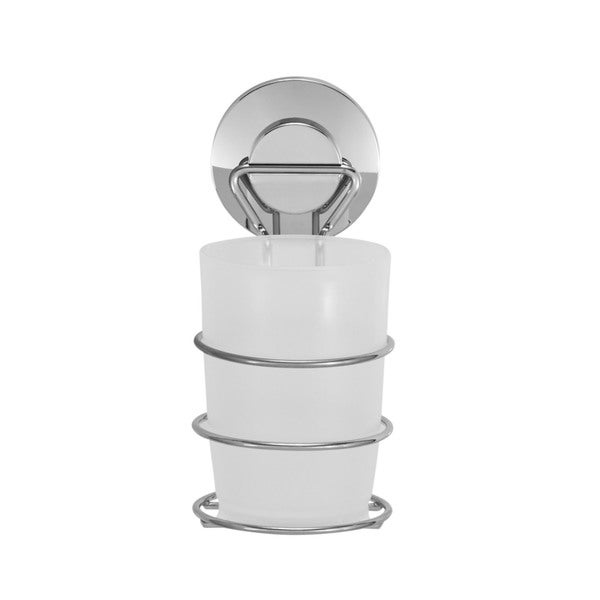 Everloc Push N' Loc Stainless Steel Suction Cup Toothbrush Holder With Chrome Cover 19971388