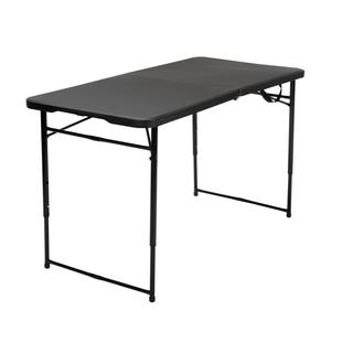 COSCO 4-foot Indoor/ Outdoor Adjustable Height Center Fold Black Tailgate Table with Carrying Handle