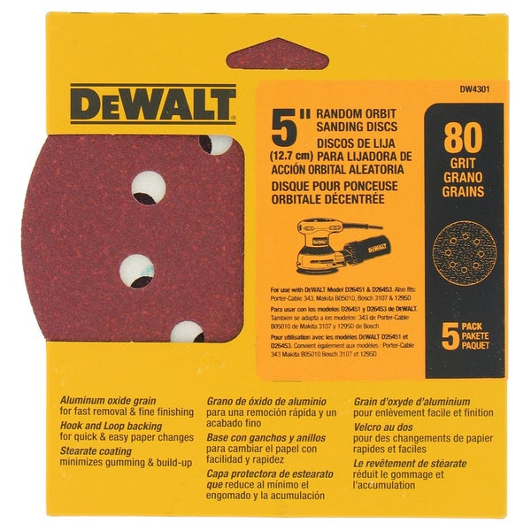 """Dewalt DW4301 5"""" 80 Grit Random Orbit Sanding Discs"""