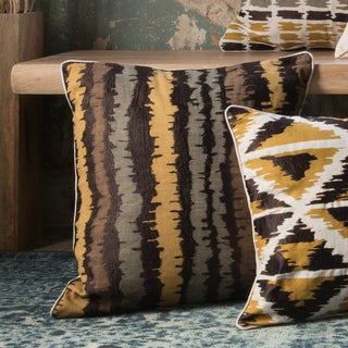 Printed Brown Multi Abstract Stripe Feather and Down Filled or Polyester Filled 22-inch Throw Pillow or Pillow Cover